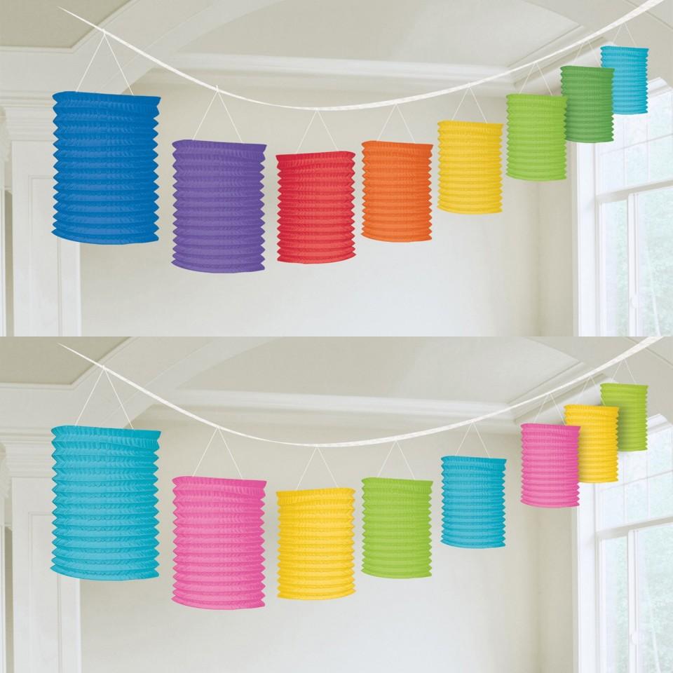 Rainbow and Neon Paper Lantern Garlands