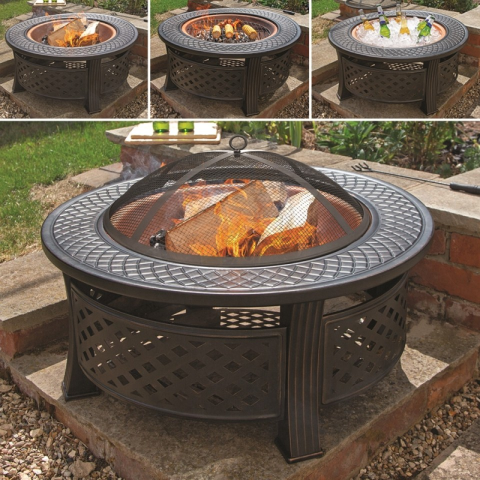 3 in 1 Round Fire Pit with BBQ Grills and Copper Effect Bowl
