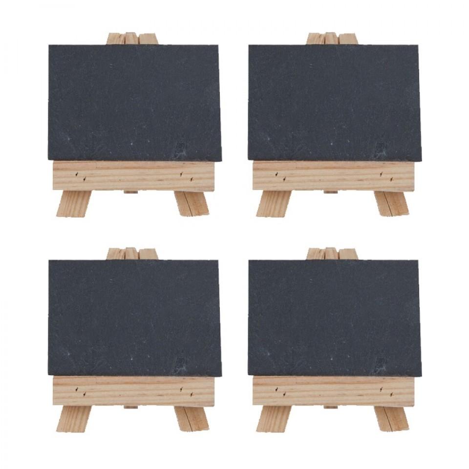 Set of Four Easel and Slate Plate Settings