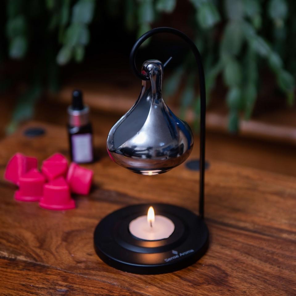 Silver Ceramic Hanging Cup Fragrance Burner
