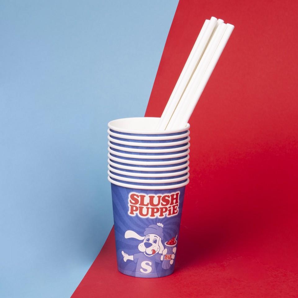 Slush Puppie 9oz Paper Cup and Straws (20's)