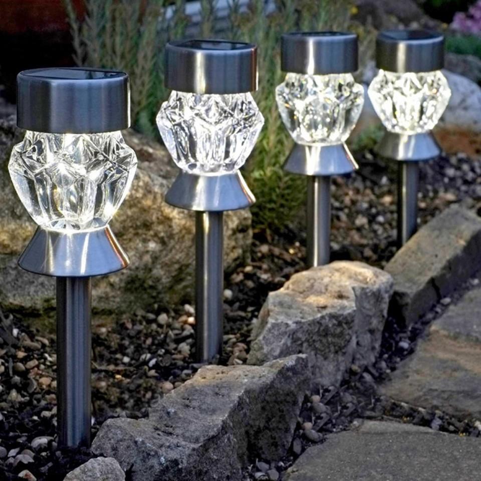 Solar Crystal Stake Lights Nickel (4 pack)