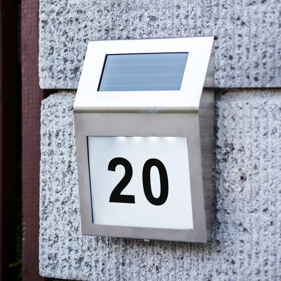 Solar House Number Sign