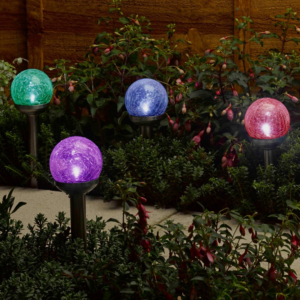 Solar Rainbow Glass Stake Lights (4 pack)