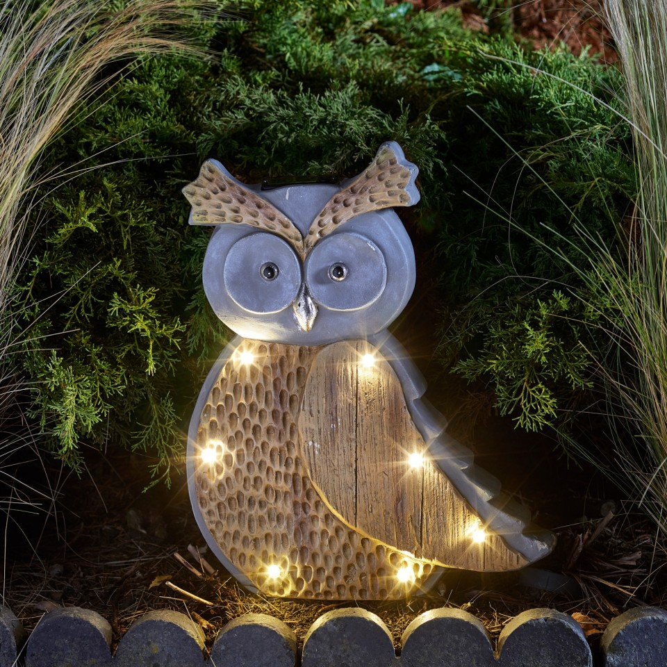 Solar Woodstone Inlit Owl