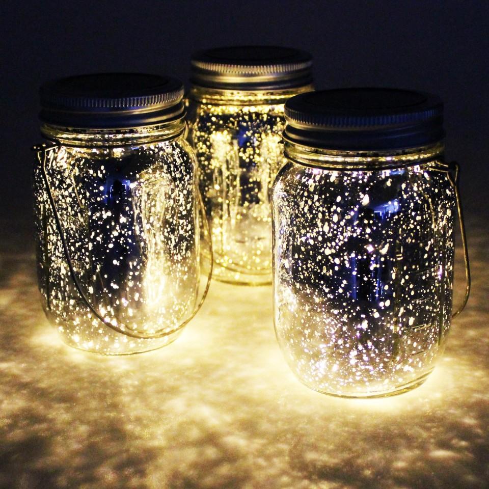 Solar Mercury Glass Jar Lights (3 Pack)