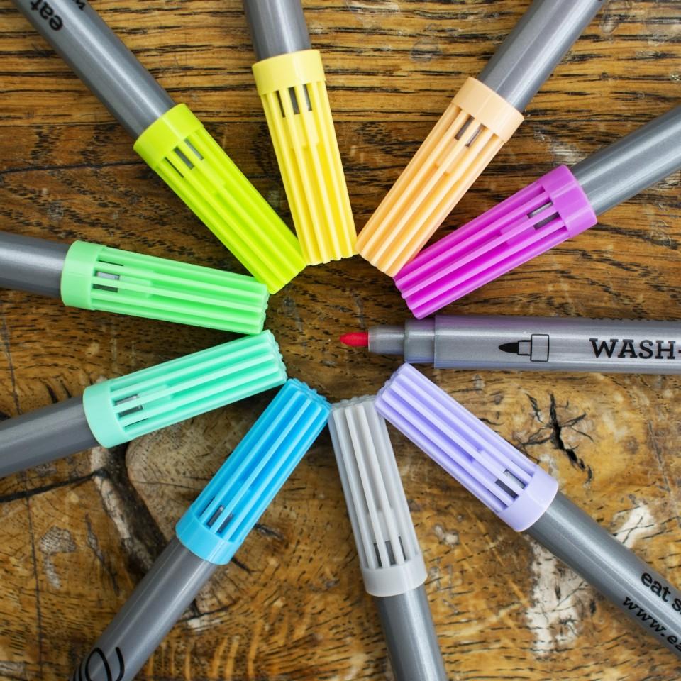 The Doodle Wash Out Fabric Pen Set - Pastel Colours