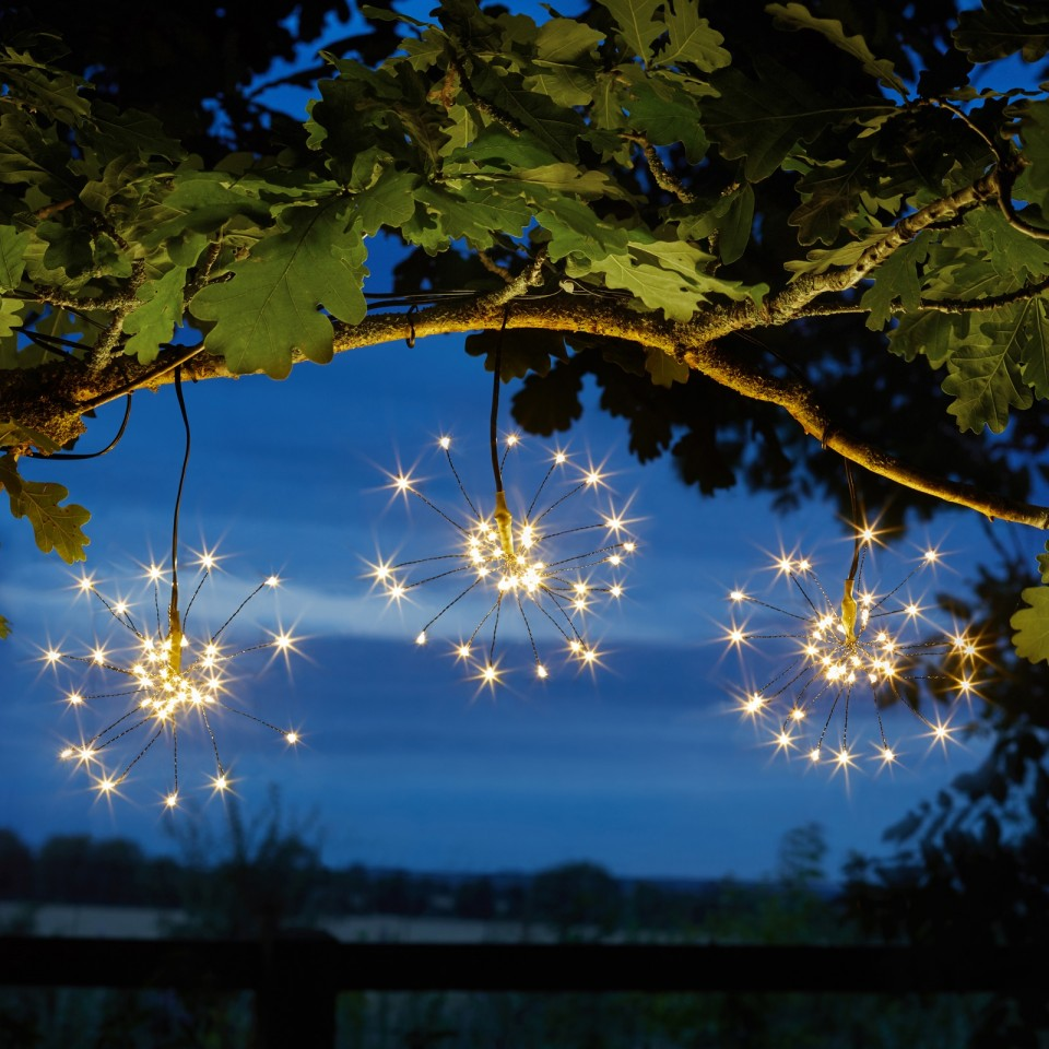 Warm white Solar Triple Starburst String Light Dual Colour