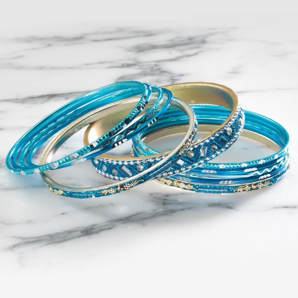 Turquoise Indian Glitter Bangles (BG19)