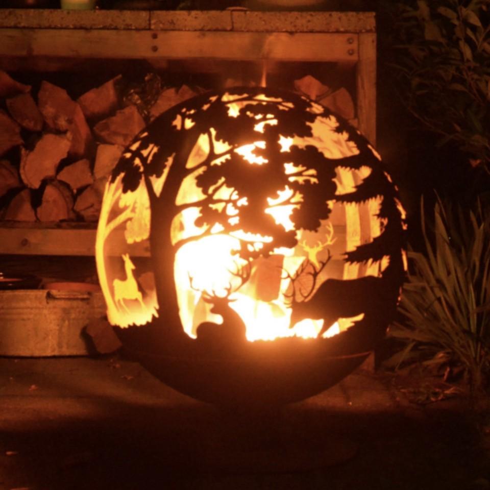 Laser Cut Woodland Fire Globe (FF261)