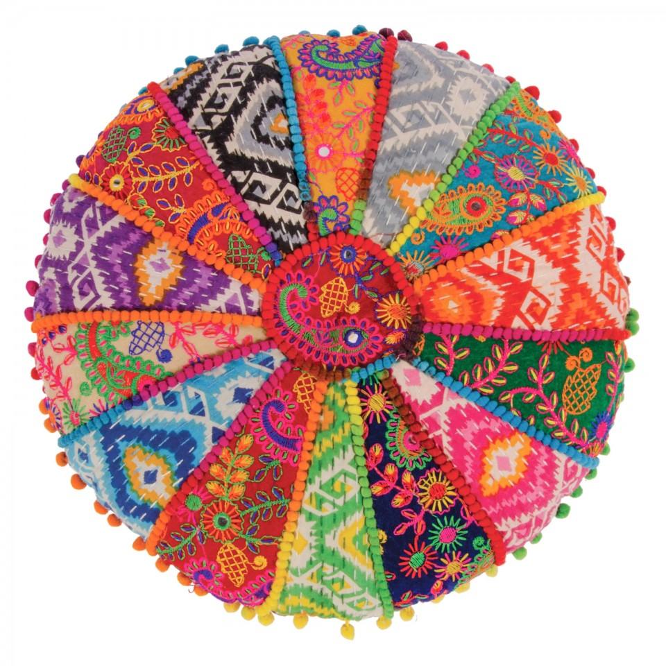 Indian Embroidered Yoga Meditation Cushion