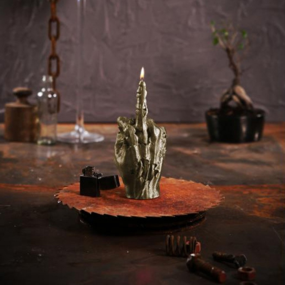 """Zombie Brass Hand Candle """"The Bird"""""""