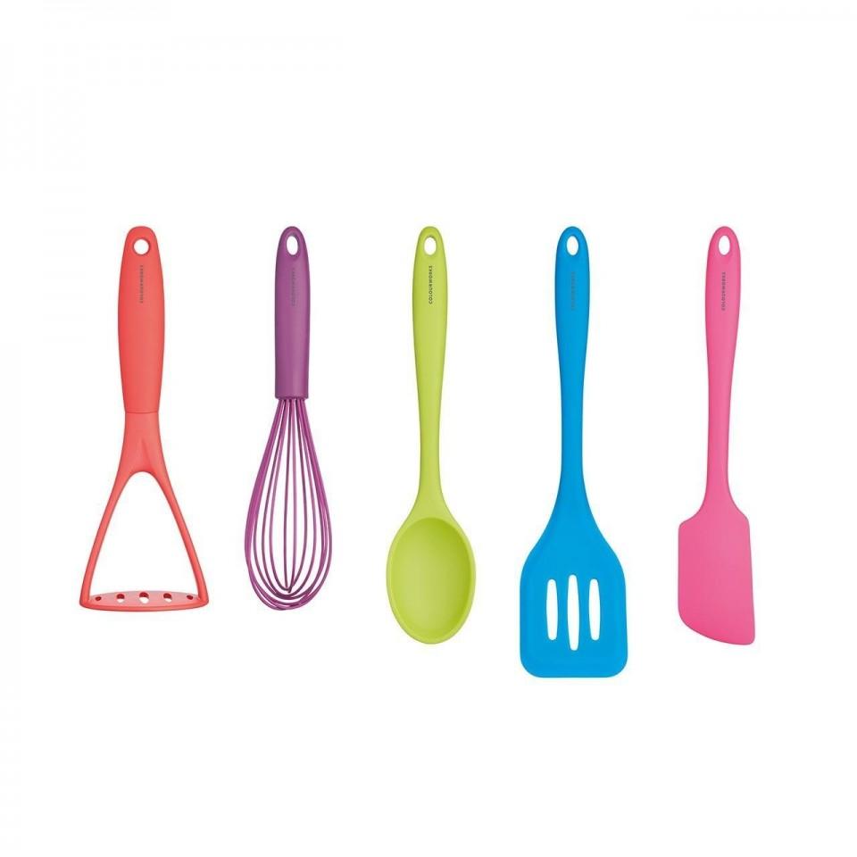 Colourworks Bright Silicone 5 Piece Kitchen Utensil Set
