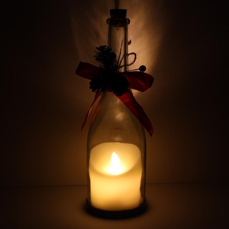 Flickering Led Candle Christmas Bottle Light