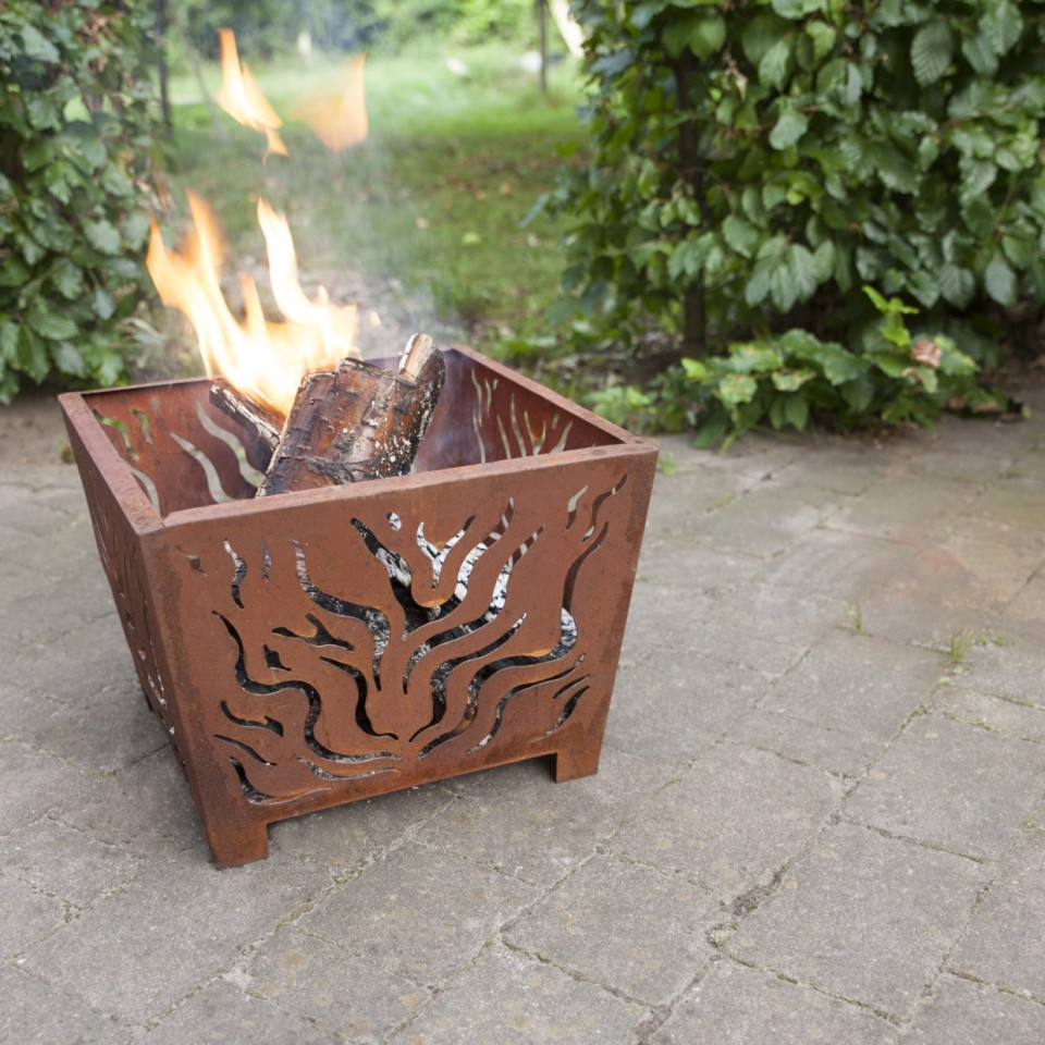 Square Rusted Garden Fire Basket