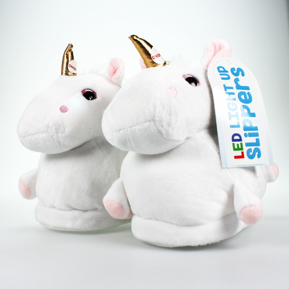 Children's LED Plush Unicorn Slippers