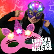 Flashing Felt Masks - Unicorn & Peacock