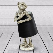 Antique Silver Bashful Monkey Lamp