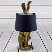 Antique Gold Rabbit Ears Lamp with Black Shade