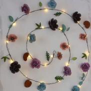 Rose Metal Floral String Lights
