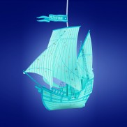 Peter Pan Blue Ship Lamp Shade