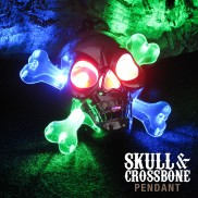 Flashing Skull & Crossbone Pirate Necklace