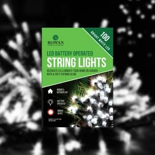 100 LED Bright White String Lights B/O