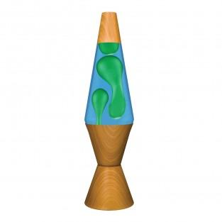 "14.5"" LAVA Brand Wood Effect Lava Lamp - Yellow/Blue"