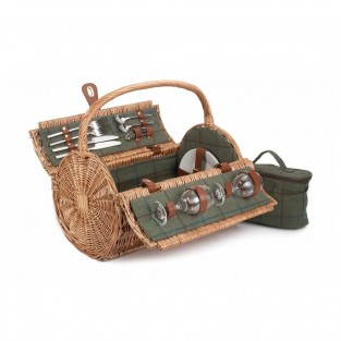 Two Person Tweed Barrel Picnic Basket
