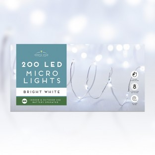 200 Micro Led Battery Operated Lights - Bright White