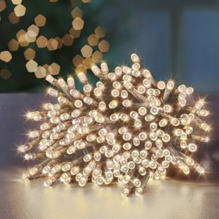 200 Led Warm White Clear Cable Supabrights