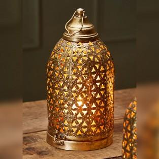 Gold Cutwork Dome Lantern 28cm Fair Trade (LT184)