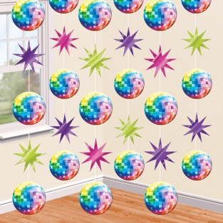 70's Disco 6 x String Decorations (7 feet)