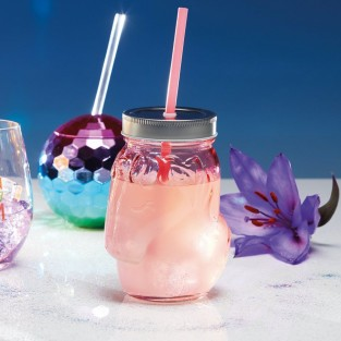 Unicorn Pink Glass Drinks Jars x 4