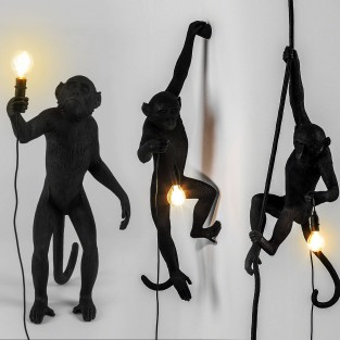 Seletti Black Outdoor Monkey Lamps