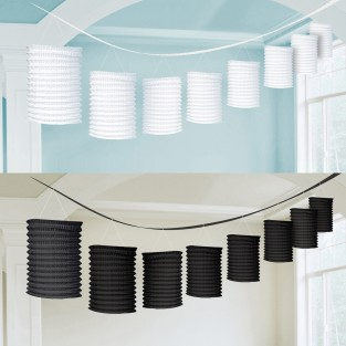 Black and White Paper Lantern Garlands