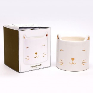 Cat Face Candle - Linen Scented