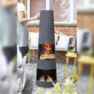 Circo Steel Chimenea With Log Store