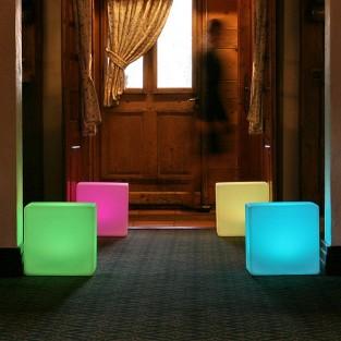 Colour Change Outdoor Cube Seat