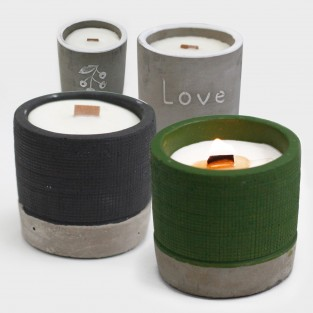 Concrete Soy and Woodwick Candles