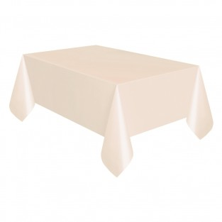 Cream Plastic Table Covers 120cm x 120cm (Twin Pack)