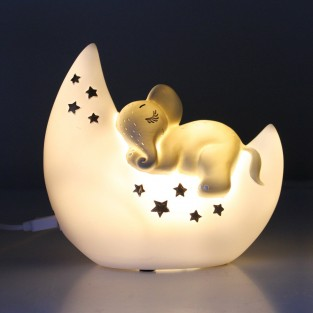 Mini LED Elephant and Moon Lamp