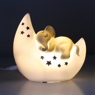 Mini LED Elephant and Moon Lamp