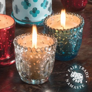 Embossed Glass Indian Votive Candle