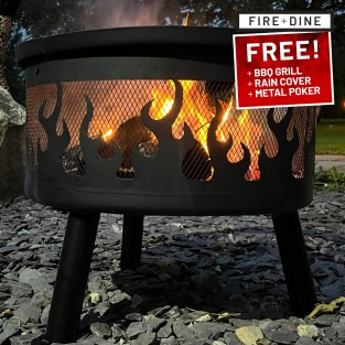Flames Fire Pit & BBQ Grill With Rain Cover by Fire & Dine