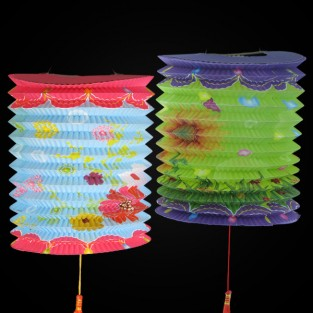 Colourful Flower Concertina Lanterns (10 Pack)