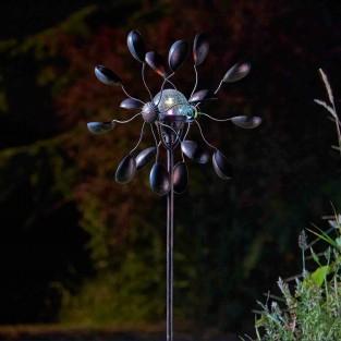 Gemini Wind Spinner with Solar Globe