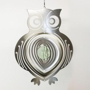 Glow Ball Silver Owl Wind Spinner