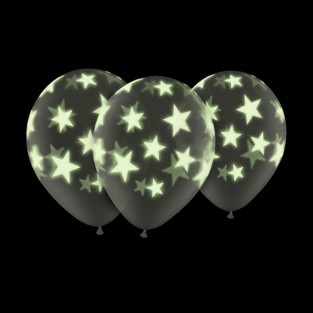 "Glow In The Dark 11"" Star Balloons (5 Pack)"