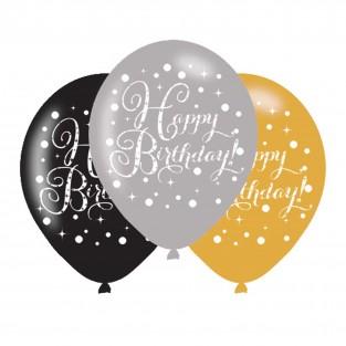 Sparkling Happy Birthday Balloons x 6